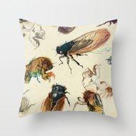 Summer Cicadas Throw Pillow