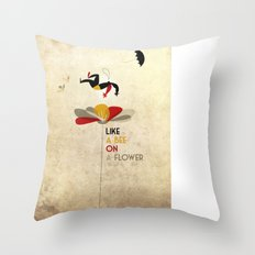 Like a bee on a flower Throw Pillow