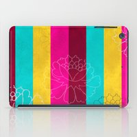 Chinese Flowers & Stripes - Pink Yellow Cyan Red iPad Case