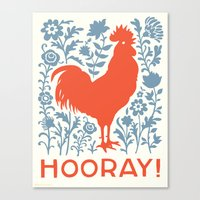 Hooray! Rooster Large Pr… Canvas Print