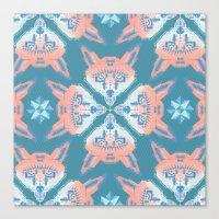 Pastel Fox Pattern Canvas Print