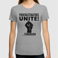 Procrastinators Unite To… Womens Fitted Tee Athletic Grey LARGE