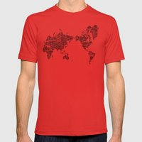 Passport Stamp Map 1 Mens Fitted Tee Red SMALL