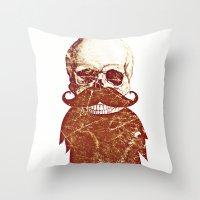 Beard Skull 2 Throw Pillow