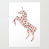Multi Heart Unicorn Art Print