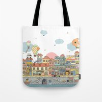 79 Cats In Harbor City Tote Bag