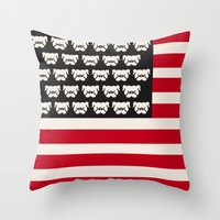 Pugtriotic American Flag Throw Pillow
