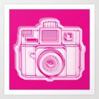 I Still Shoot Film Holga Logo - Reversed Pink Art Print