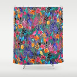 Shower Curtain - Popping Color Painted Floral on Grey - micklyn