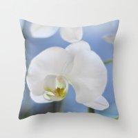 White Phalaenopsis Throw Pillow