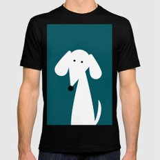 White Dachshund - Turquoise  SMALL Mens Fitted Tee Black