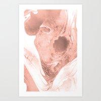 Pink & Grey Marble Art Print