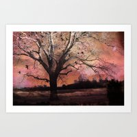Surreal Trees Ravens Lan… Art Print