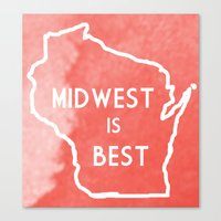 Midwest Is Best In Badge… Canvas Print