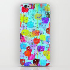 SPECKLE ME DOTTY - Bright Polka Dot Cheerful Aqua Turquoise Blue Rainbow Fine Art Abstract Painting iPhone & iPod Skin