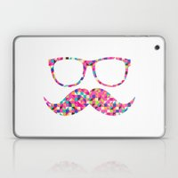 Funny Girly Pink Abstract Mustache Hipster Glasses Laptop & iPad Skin
