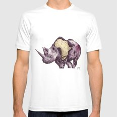 rhino White SMALL Mens Fitted Tee