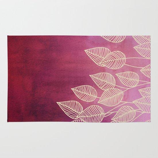 Magenta Garden - watercolor & ink leaves Area & Throw Rug