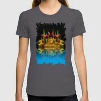 Lion And Flowers Womens Fitted Tee Asphalt SMALL