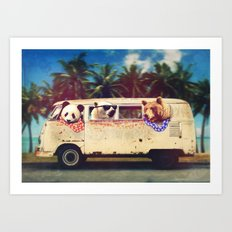 Bears on a bus Art Print