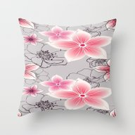 Pink Floral On Grey Throw Pillow
