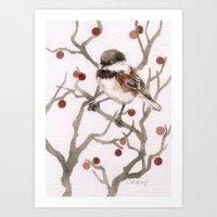Chickadee & Berries Art Print
