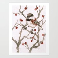 Chickadee & Berries Art Print