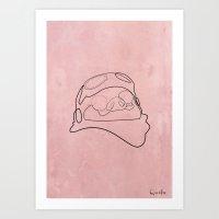 One Line Porco Rosso Red Art Print