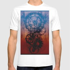 Steampunk clock SMALL Mens Fitted Tee White