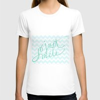 Just Smile - hand lettered calligraphy art print Womens Fitted Tee White SMALL