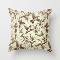 Sepia Hummingbird Pattern Throw Pillow