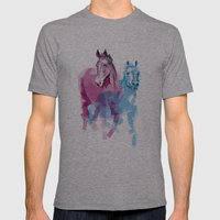 Two Horses Mens Fitted Tee Athletic Grey SMALL