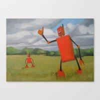 Robot In Landscape #1 Canvas Print