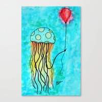 Jellyfish and Balloon Canvas Print