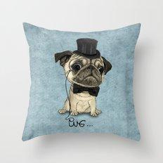 Pug; Gentle Pug (v3) Throw Pillow