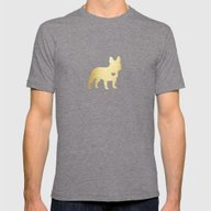 French Bulldog Gold Mens Fitted Tee Tri-Grey SMALL