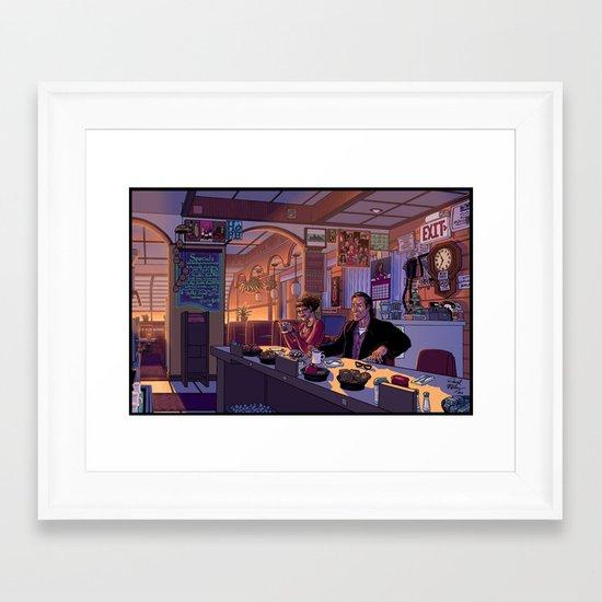 Diner Scene Framed Art Print