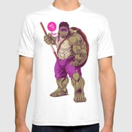 Hulk Ninja Turtle Mens Fitted Tee White SMALL