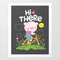 Pig On A Bike Art Print