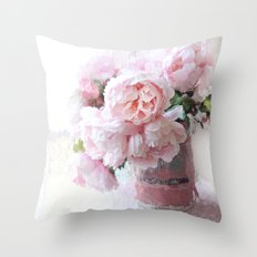 Shabby Chic Cottage Pink Impressionistic Peonies in Vintage Sugar Bucket Throw Pillow