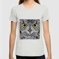 OWL PORTRAIT Womens Fitted Tee Silver SMALL