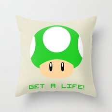 Get A Life! (Super Mario) Throw Pillow