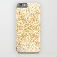 iPhone Cases featuring Sepia Snowflake Doodle by micklyn