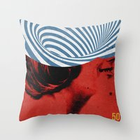 Throw Pillows featuring Cinquante | Collage by Julien Ulvoas