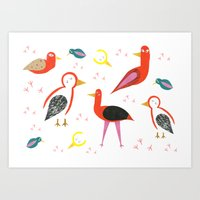 Birds and footprints Art Print