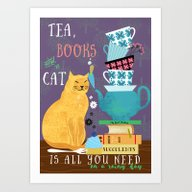Art Print featuring Tea, Books And Cats by Elisandra