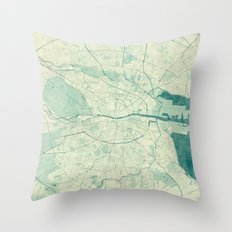 Dublin Map Blue Vintage Throw Pillow