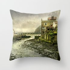 The Beck at Staithes Throw Pillow