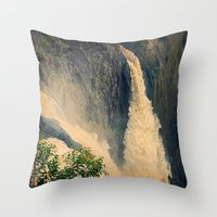 Barron Falls in retro style Throw Pillow