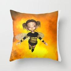 Little Bee Girl Golden Clouds Throw Pillow